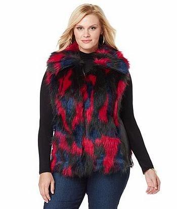 Plus Size Faux Fur Vest Red Black Blue Adrienne Landau HSN