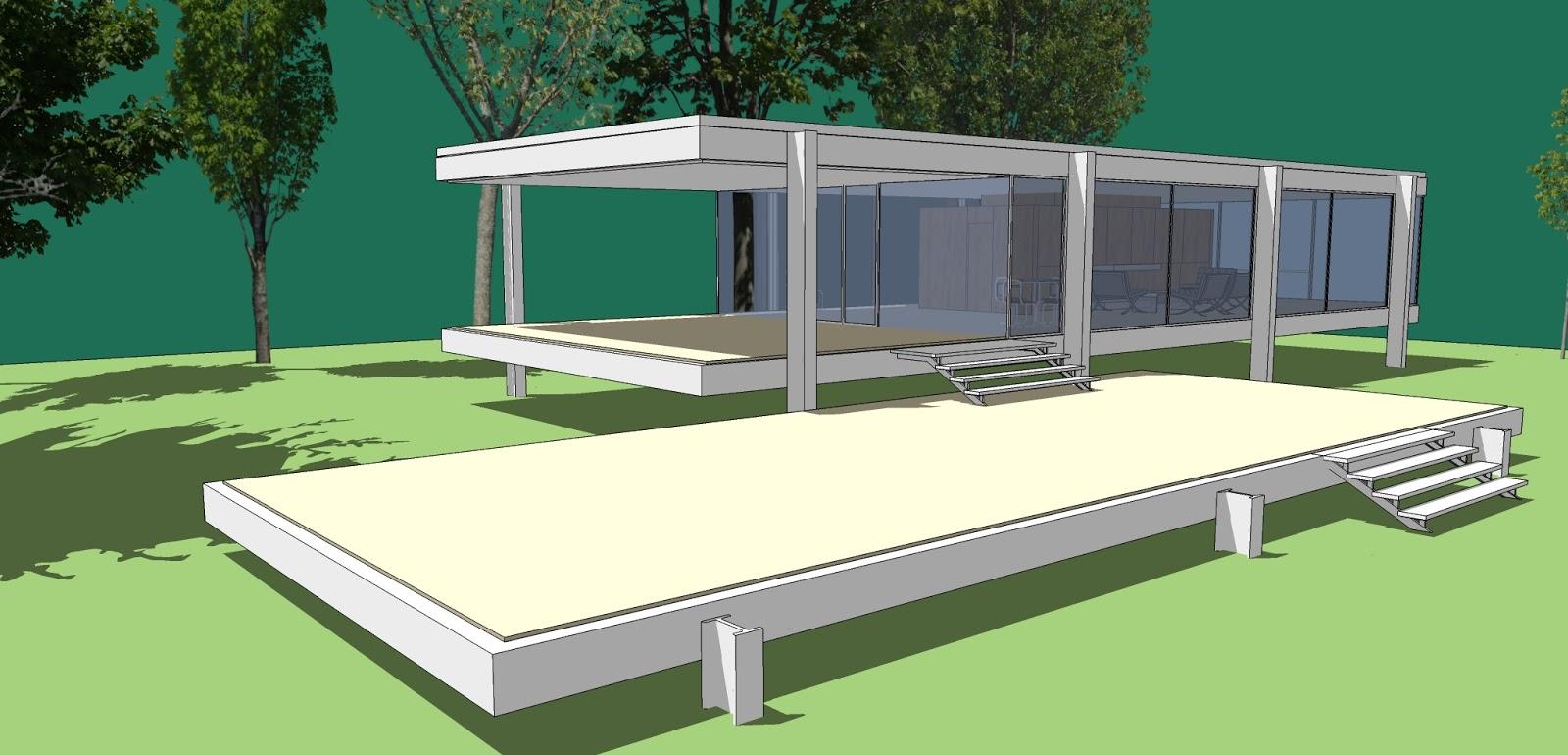 Edificios y m quinas casa farnsworth de mies van der rohe for Casa minimalista de mies van der rohe