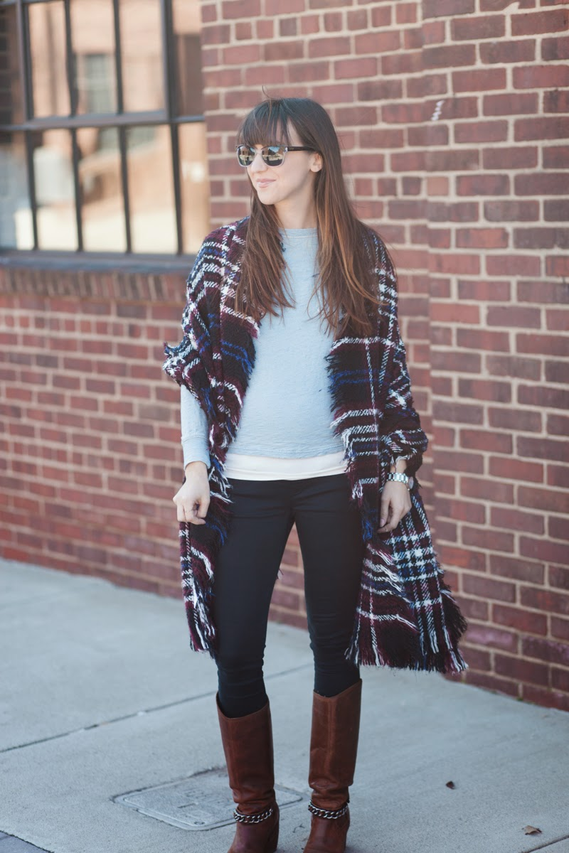 free people scarf, flannel scarf, free people shawl, flannel shawl, gap maternity jeans, gap maternity leggings, j crew long sleeve shirt, winter fashion, maternity fashion, nashville style, nashville fashion blogger