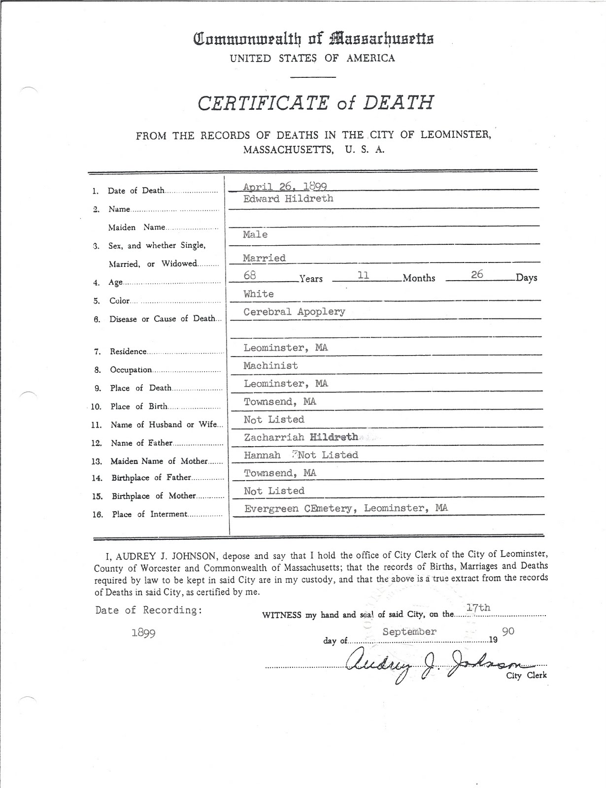 Genea musings 073111 treasure chest thursday post 76 edward hildreths death certificate xflitez Gallery