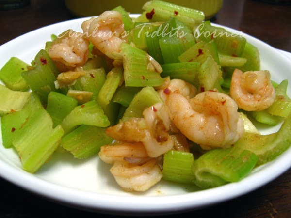 Elinluv's Tidbits Corner: Stir Fry Celery With Sea Prawns