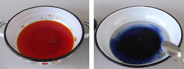 fabric dyes, textile dyes, orange dye, blue dye