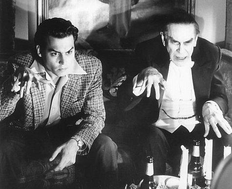 Johnny Depp  Ed Wood  con Martin Landau  Bela Lugosi  viendo  Dr  225 cula    Ed Wood Bela Lugosi