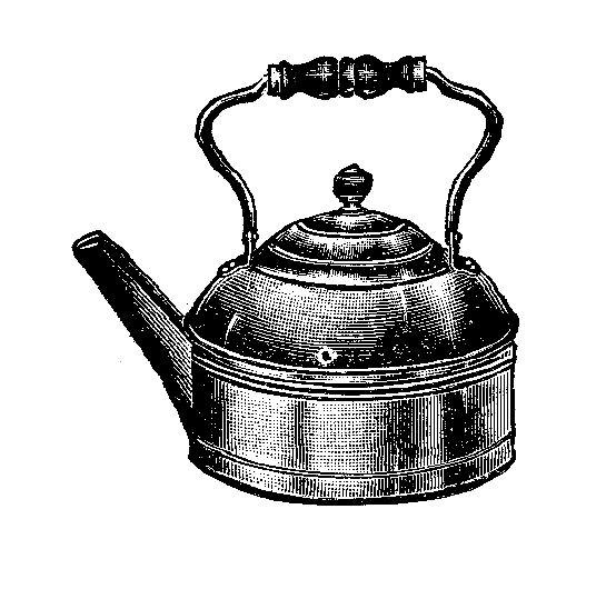 Kettle Clip Art ~ Antique images vintage tea pot kettle image with wooden
