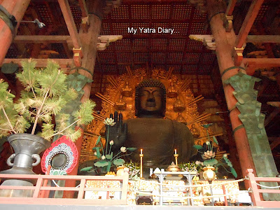 The Great image of Buddha or Daibutsu at the Todaiji Temple in Nara, Japan