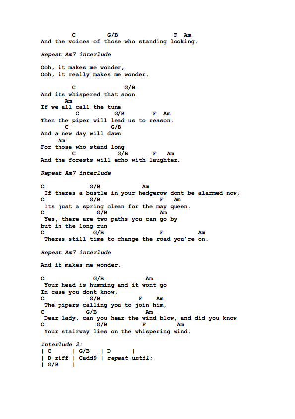 Guitar Tabs Guitar Tabs And Song Sheets For Stairway To Heaven