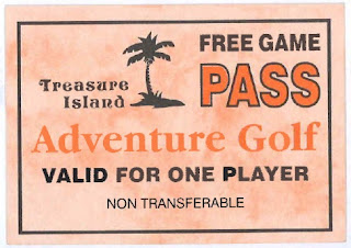 Free Game Pass from the Treasure Island Adventure Golf course in Southsea