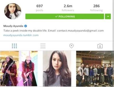 Akun Instagram Maudy Ayunda Indonesia Terpopuler 2016
