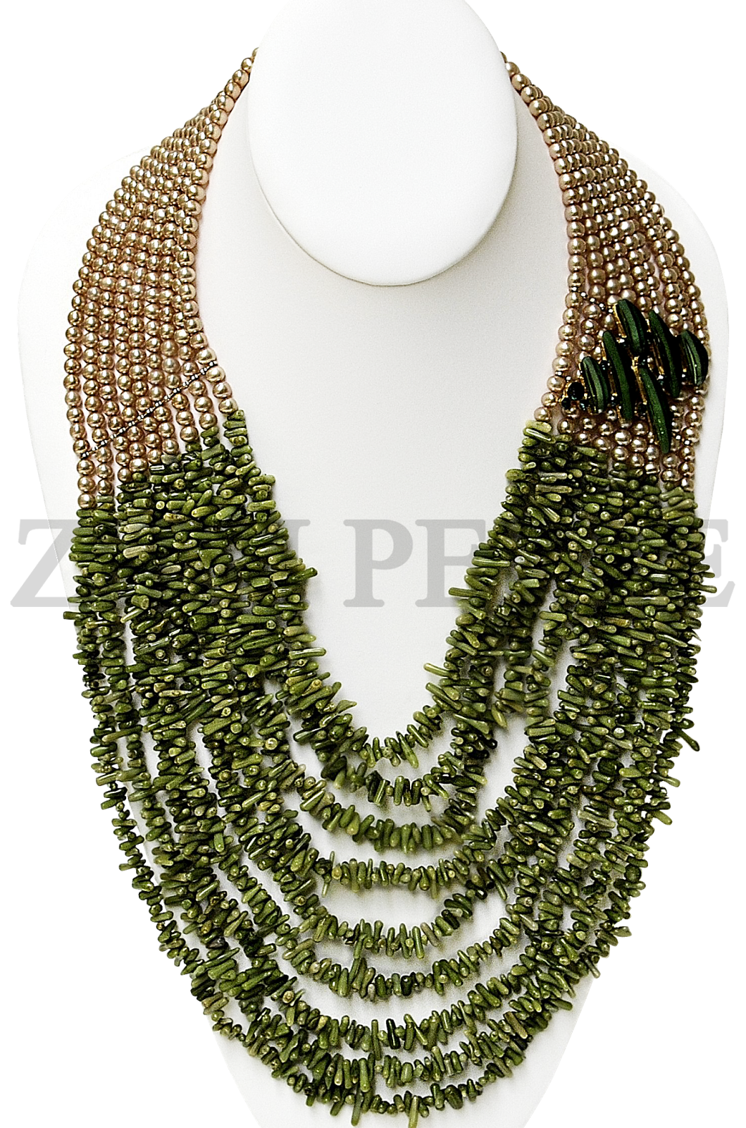 GOLD FRESH WATER PEARLS WITH GREEN CORAL CHIPS