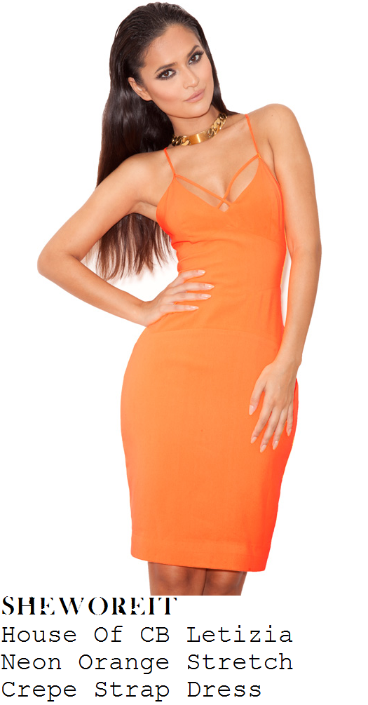 casey-batchelor-orange-sleeveless-strap-detail-bodycon-dress