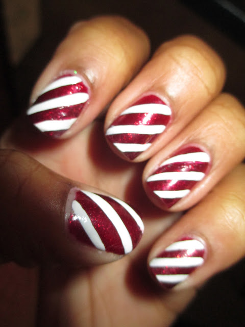 Christmas, candy cane nails, nail art, nail design, mani