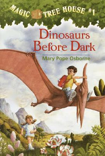 The book cover from the Magic Treehouse Series book, Dinosaurs Before Dark