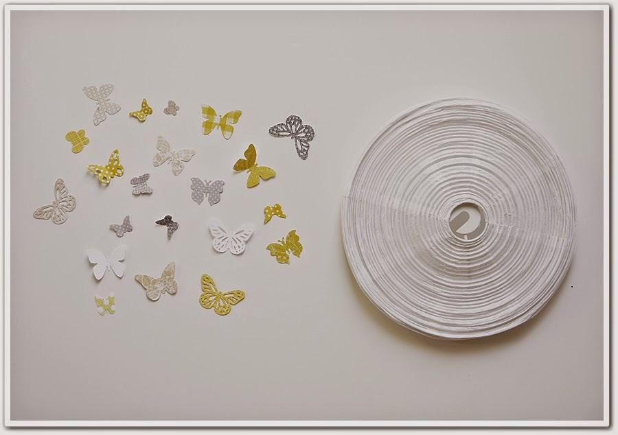 Manga por hombro l mpara con mariposas de papel - Lampara bola ikea ...