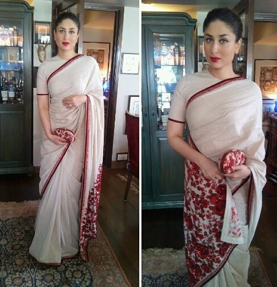 Latest saree designs kareena kapoor in beige designer saree checkout kareena kapoor in beige cotton designer saree with maroon border and paired with matching short sleeves blouse altavistaventures Image collections
