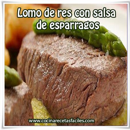 Recetas de carnes , lomo de res con salsa  de esparragos,  receta de lomo res con salsa espárragos