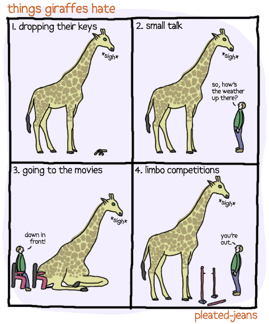 Funny comic of things giraffes hate, comic, funny, funny picture, picture