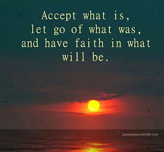 setting sun over the ocean captioned 'Accept what is, let go of what was, and have faith in what will be'