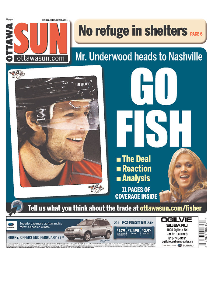 Rejected mike fisher headlines for Fish radio nashville