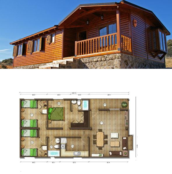 Casas de madera en espa a planos casas de madera 82 m2 - Casas de madera planos ...