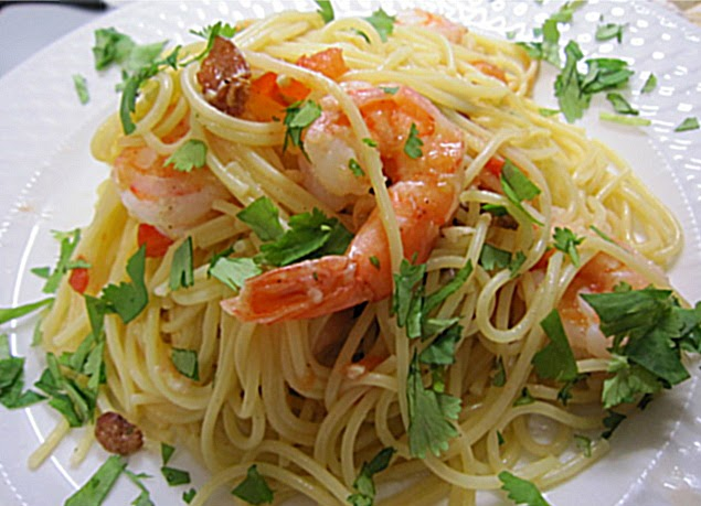 ... the Rainbow: Shrimp over linguine with bacon, lemon and cilantro