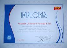 "Diploma Asociatiei ""Voluntarii Normalisti"""