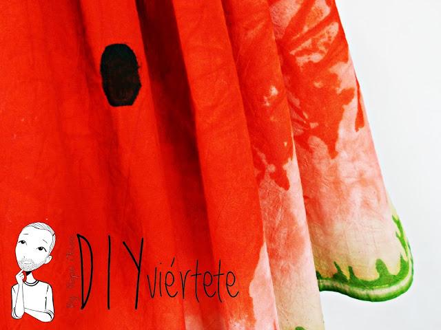 DIY-tintes iberia-teñir-rojo-verde-verano-fruta-sandía-estampado-melón-watermelon-falda-pepefalda-newlook-9999