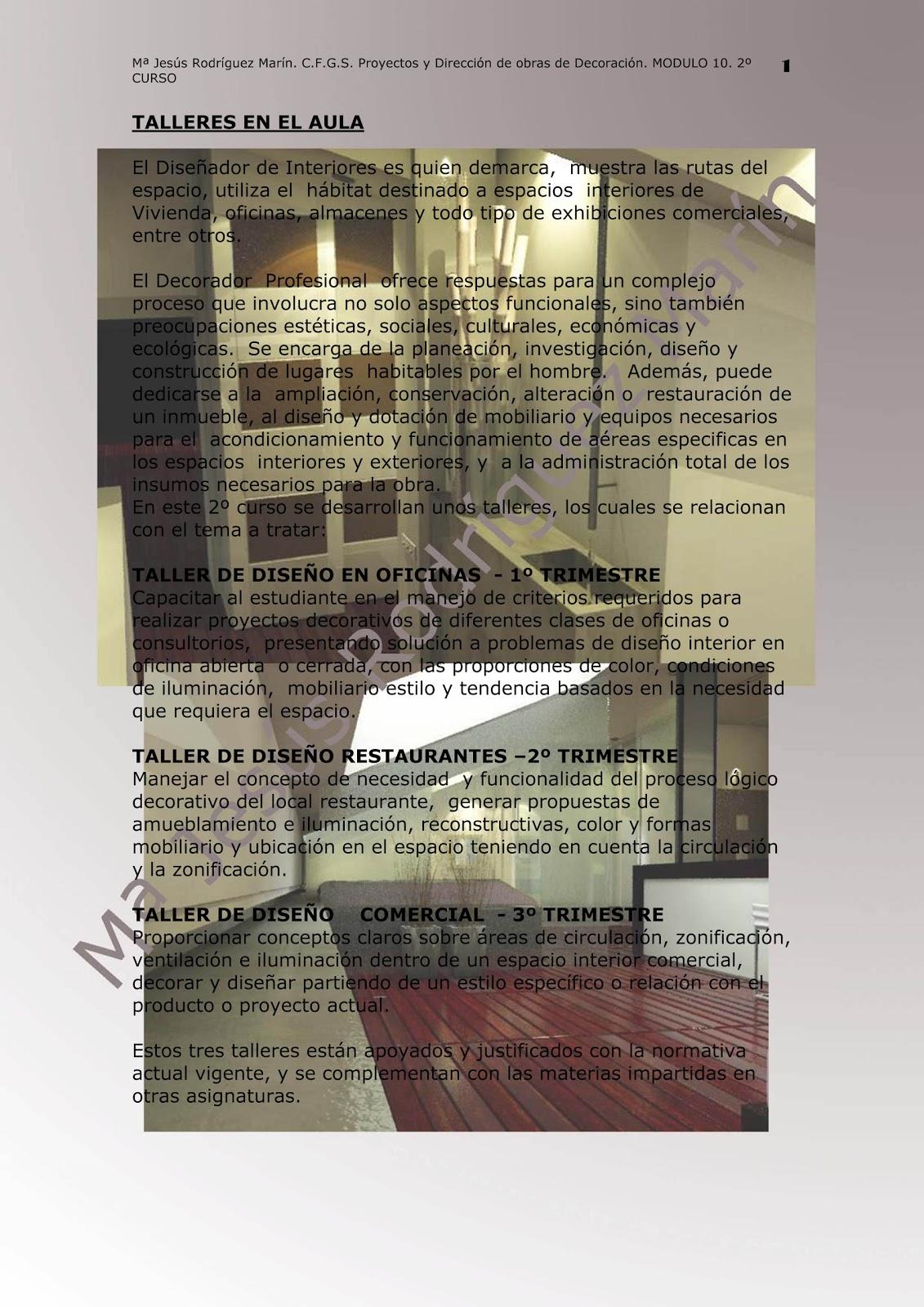 Decoraci n de interiores talleres en el aula for Taller decoracion de interiores