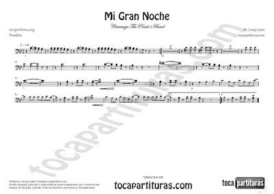 Mi Gran Noche Partitura de Trombón en Clave de Fa de Raphael Sheet Music for Trombone B flat