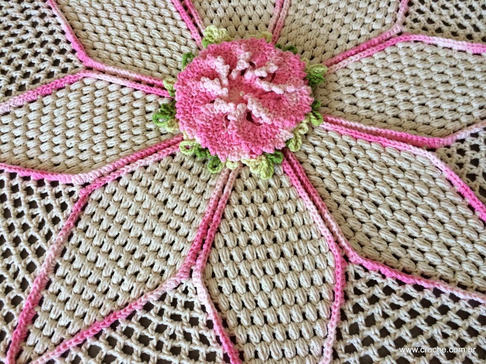 Tapete Redondo Flor Primavera Croche Com Br -> Tapete De Sala Barbante Passo A Passo