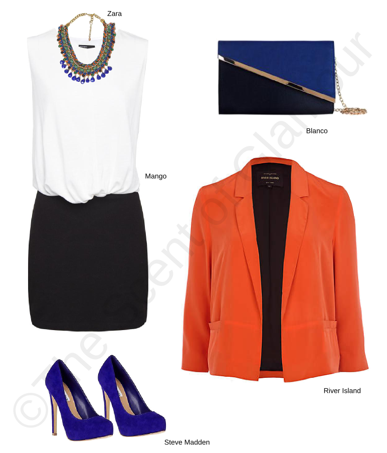 mango dress, river island orange blazer, steve madden shoes, blanco bag, zara necklace