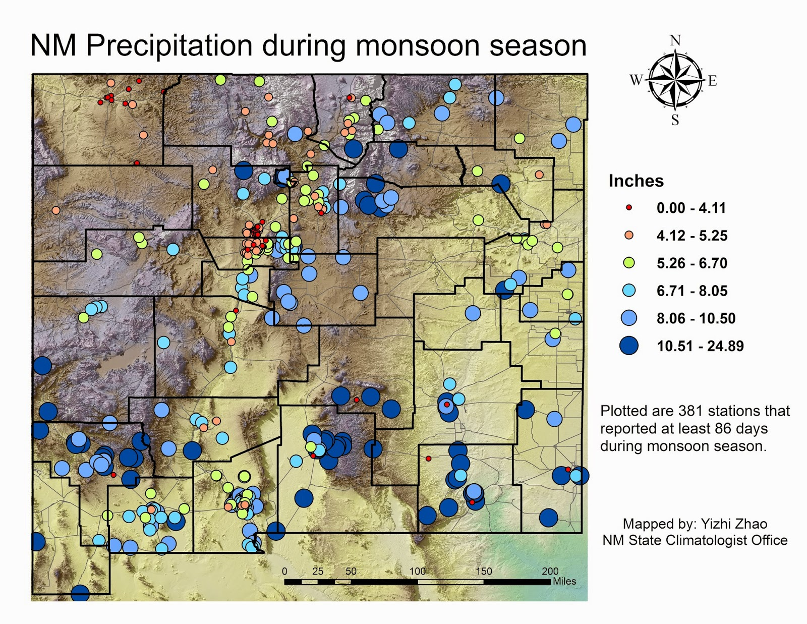 map 1 new mexico total precipitation during monsoon season mapped by yizhi zhao from nm state climatologist office