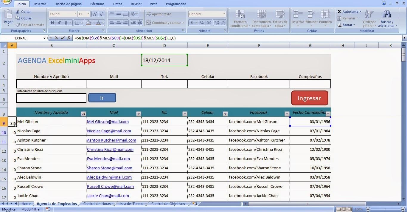 mini aplicaciones en Excel: Aviso de Cumpleaños en Excel (Birthday ...