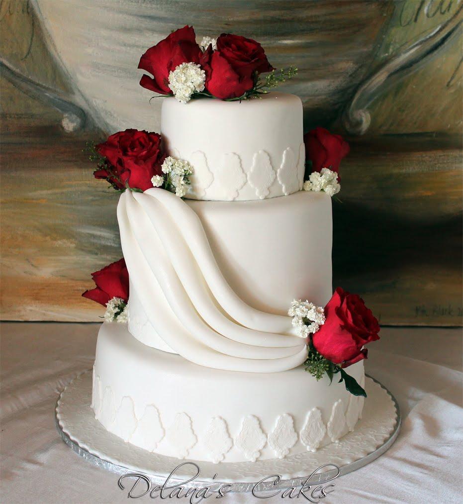 Rose Wedding Cake: Delana's Cakes