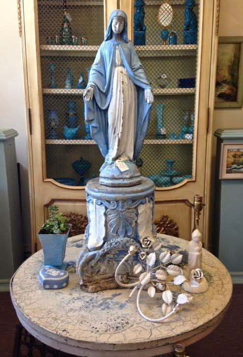 Vintage Virgin Mary statuary with pedestal The Pickled Hutch