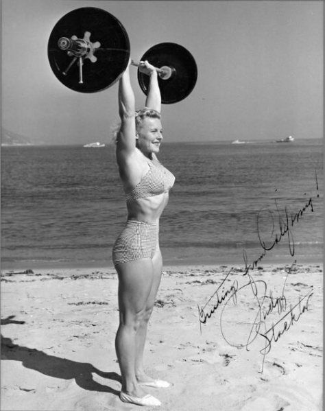 Flashback Summer: 6 Ways to Take a Heart Break - 1940s female weight lifter