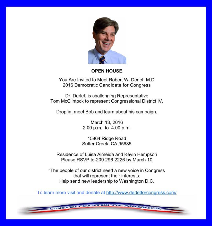 """""""Derlet for Congress"""" Open House - Sun Mar 13"""