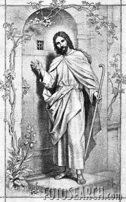 Jesus Knocking on Door Coloring Page