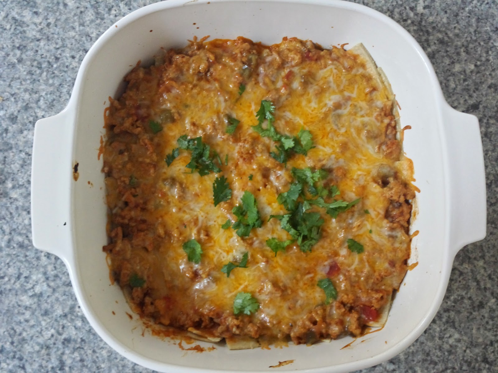 cheesy turkey enchilada bake cooked