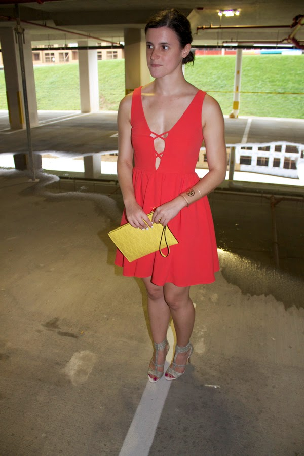 LuLu's Dress, Aldo clutch, Jessica SImpson snakeskin heels, yellow clutch