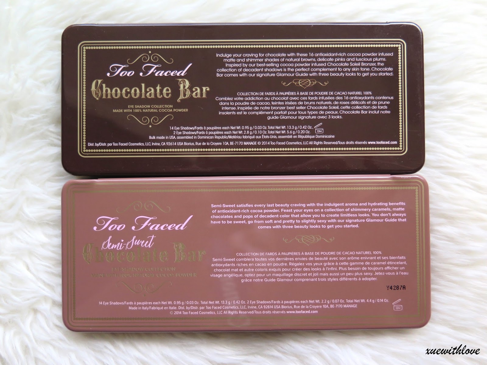 Xuewithlove: Too Faced Chocolate Bar VS Semi-Sweet Chocolate Bar ...