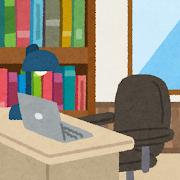 書斎のイラスト(室内風景)
