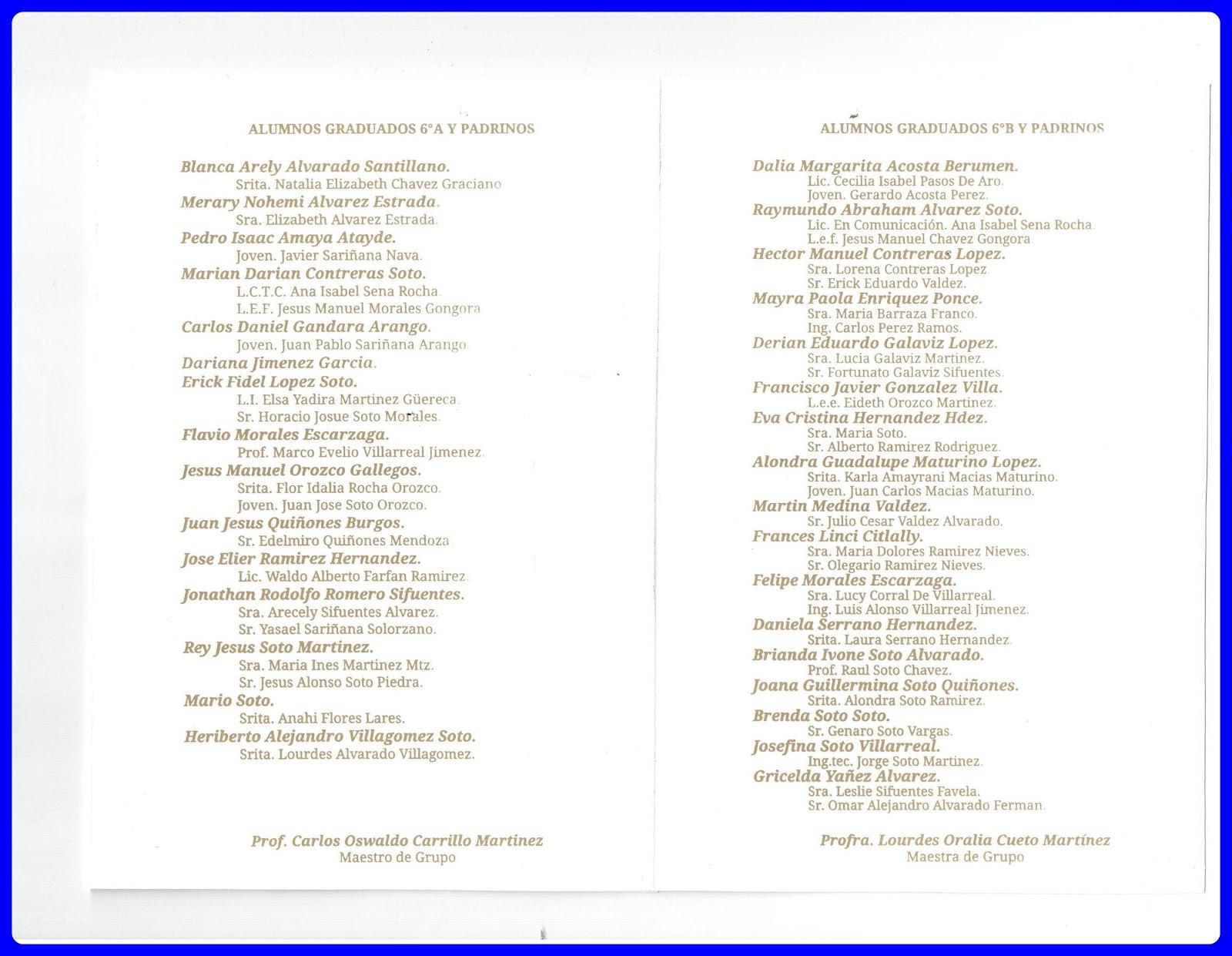 de fin de cursos de la generación 2006 2012 que se realizará este 5