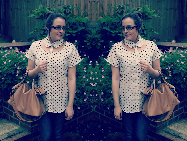 Glamorous-Cut-out-shirt-polka-dot-outfit-post-blogger