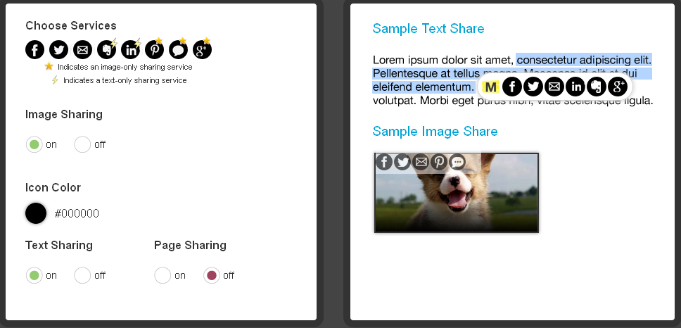 Preferred Contents Social Sharing Plugin