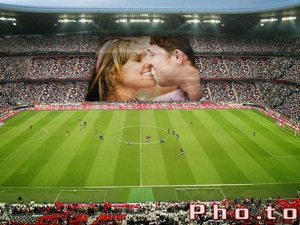Montagem de fotos no estádio de futebol