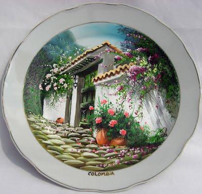 Plato porcelana pintado al oleo