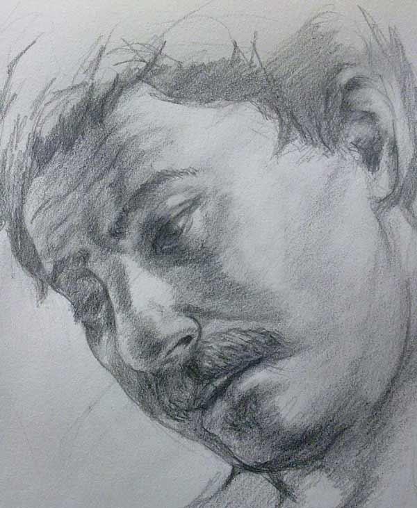 retrato de hombre con bigote en grafito