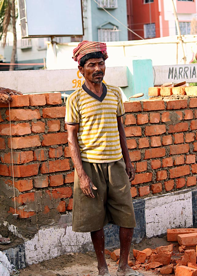 labourer taking a break from work