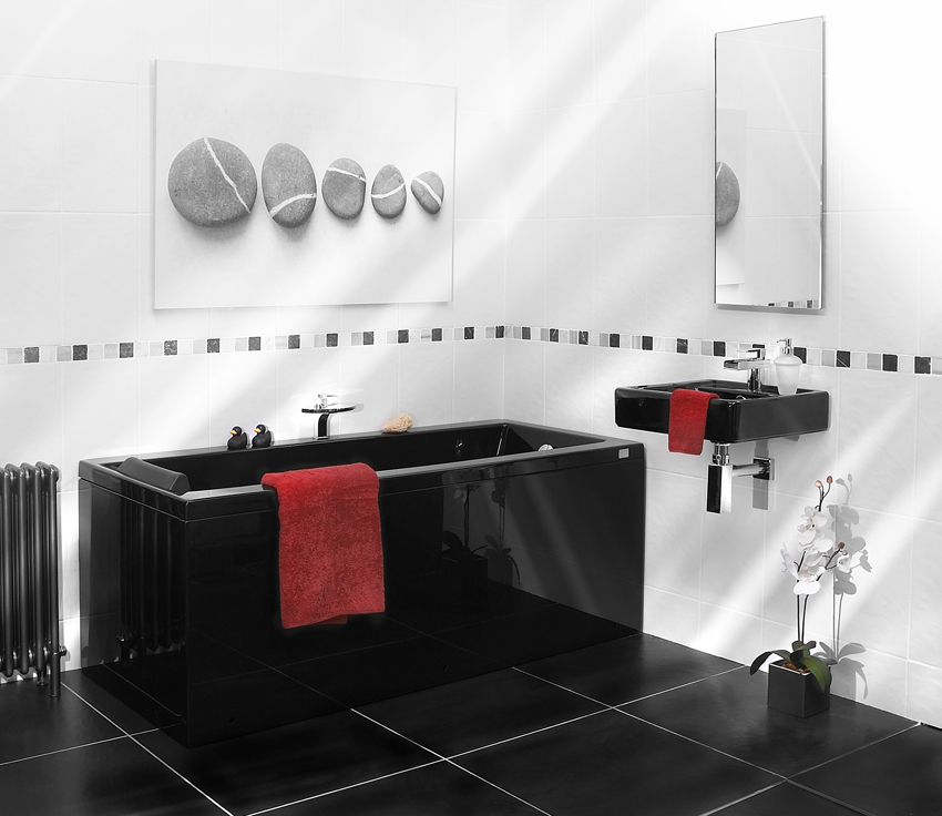 Black white bathroom accessories black bathroom for Black white bathroom set