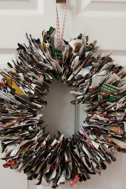 wreath made of catalog pages